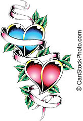 heart ribbon tattoo