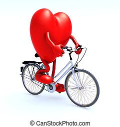 heart riding a bicycle - heart with arms and legs riding a...