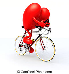 heart riding a bicycle - heart with arms and legs riding a ...