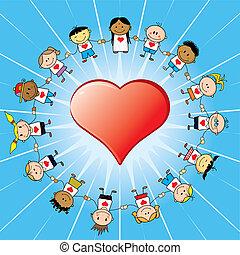 heart ring - 15 Children around a heart.