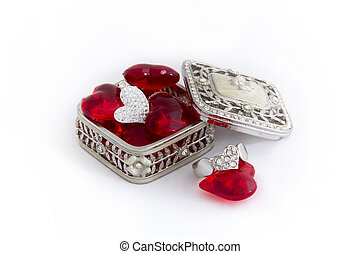 Heart Ring and Necklace  in a Jewellery Box with Red Hearts