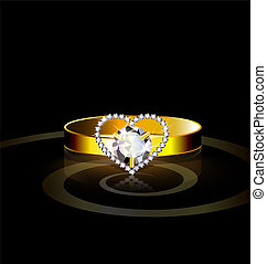 heart- ring - dark background and golden ring with jewel...