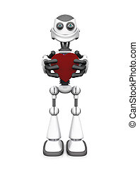 heart., robot, spotprent, vasthouden, het glimlachen, witte