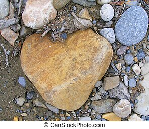 Heart Rock - River rock hearth shaped.