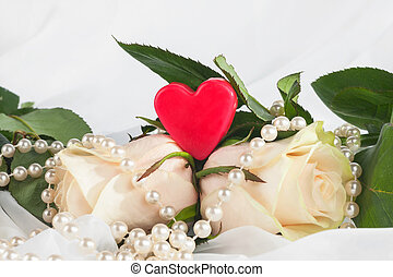 Heart, rose, necklace