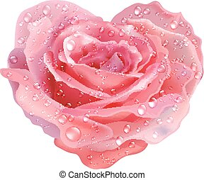 Heart-rose. Vector object flower on a white background.