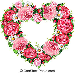 Heart roses frame - Vector illustration of roses heart frame...