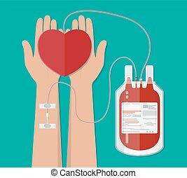 heart., sac main, donation, donateur sang