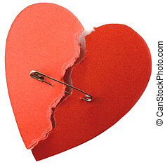 Heart safety pin - symbol for repaired heart for love or...