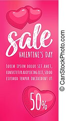 Heart. Sale Valentine's Day calligraphic handwriting...