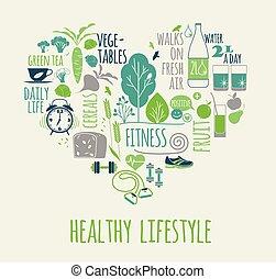 heart., saudável, ilustração, forma, vetorial, estilo vida