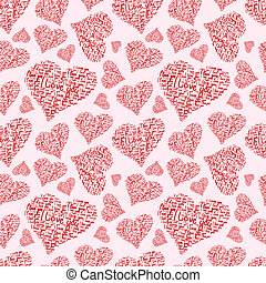 """Heart seamless raster background made of hand written words """"I love you"""""""