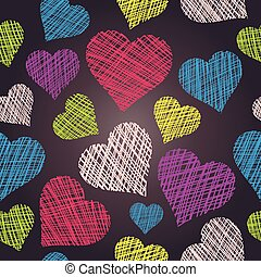 Heart seamless pattern. Hand drawn vector hearts