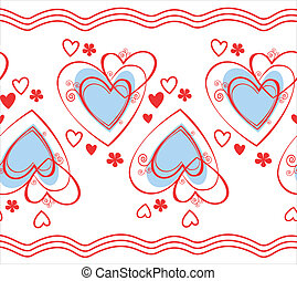 Heart - Seamless pattern of hearts  on the white  background