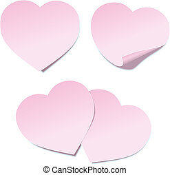 Heart Self Stick Notes - Illustration of self stick notes in...
