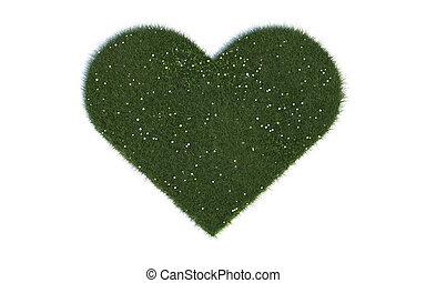 Heart Series Symbols out of realistic Grass