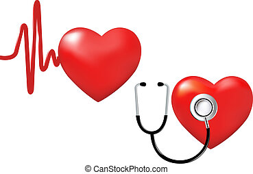 2 Hearts, Heart Beats And Stethoscope And Heart, Isolated On White Background, Vector Illustration