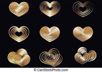 heart set gold
