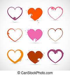 Heart Set. Grunge Pink, Red, Orange Valentine Symbols with Splashes, Stains, Blots.