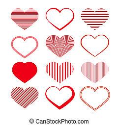 Heart Set. Red Valentine Symbols.