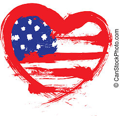 heart shape american flag