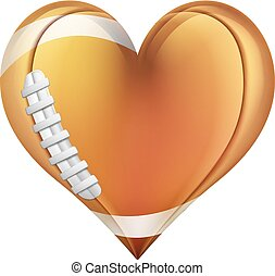 A heart shaped American football ball. Concept for passion or love of sports