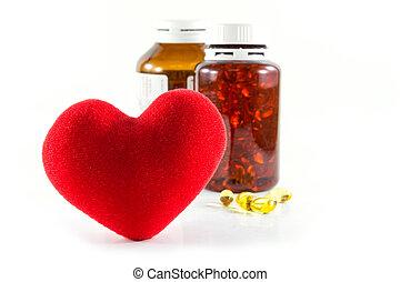 Heart shape and pills concept