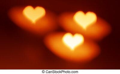 Heart shape, bokeh style, candles.