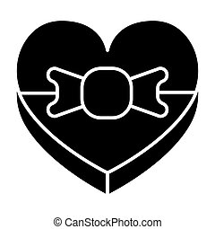Heart shape box with bow solid icon. Present with ribbon vector illustration isolated on white. Gift glyph style design, designed for web and app. Eps 10.
