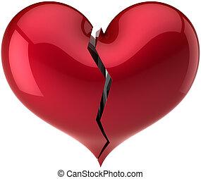 Heart shape broken with crack