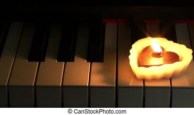 Heart Shape Candle on Piano