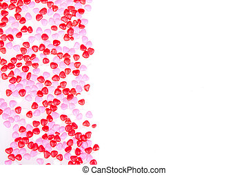 heart shape candy on white