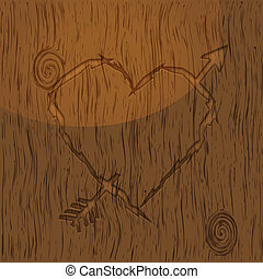 Heart shape carved into wood
