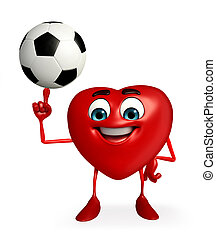 Heart Shape character with foot ball