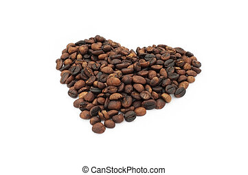 Heart shape coffee beans