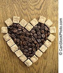 Heart shape Coffee Beans on wooden