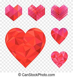 Heart shape collection. - Set of different geometric heart...
