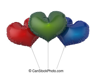 Heart shape colorful party balloons. Isolated on white backgroun