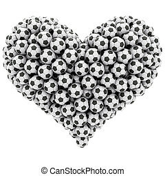 Heart shape composed of many soccer balls isolated on white....