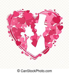 Heart shape composition with prince and princess silhouettes, design element.