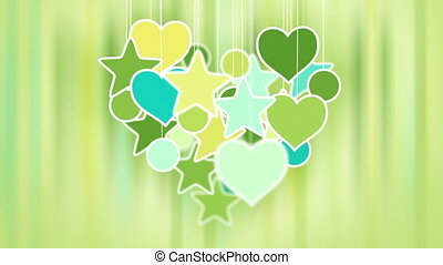 heart shape concept loop background - yellow green cyan...