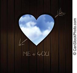heart shape cut into wooden door wi