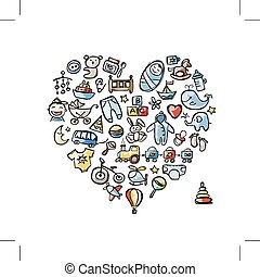 Heart shape design with toys for baby boy. Vector...