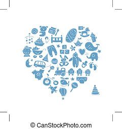 Heart shape design with toys for baby boy