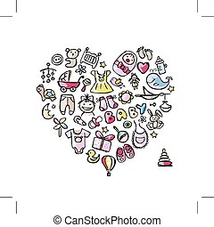 Heart shape design with toys for baby girl