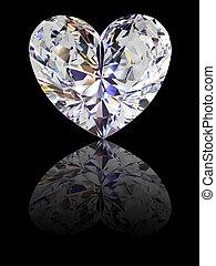 Heart shape diamond on glossy black background. High ...