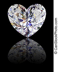 Heart shape diamond on glossy black background. High...