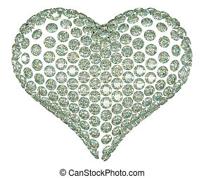 Heart shape diamond or gemstone set isolated on white