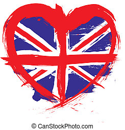 heart shape england flag