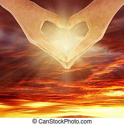 Heart shape - Fingers forming heart shape in front of sky